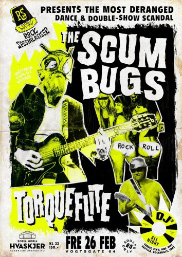 Poster, The Scumbugs and Torqueflite at Hvaskjer
